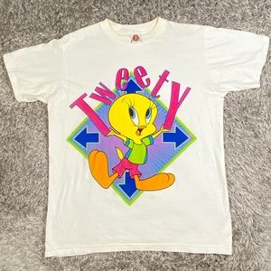 Vintage Looney Tunes Graphic T Shirt Tweety 1990s